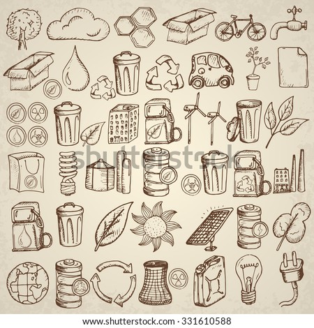 Ecology icons set. Hand drawn vector illustration. - stock vector