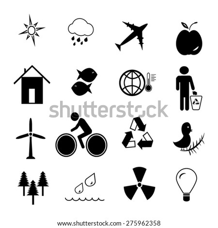Ecology icons set illustration - stock vector