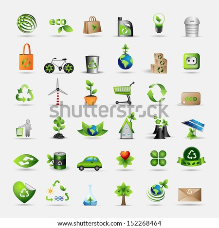 Ecology Icons Set - Isolated On Gray Background. Vector illustration, Graphic Design Editable For Your Design. Eco Logo - stock vector