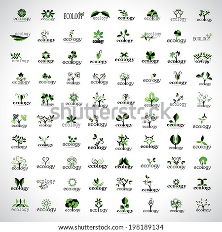 Ecology Icons Set - Isolated On Gray Background - Vector Illustration, Graphic Design Editable For Your Design - stock vector