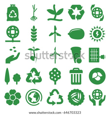 Ecology icons set. set of 25 ecology filled icons such as leaf, nest, tree, hand with seeds, lemon, trash bin, recycle, trash bag, flower, sprout, qround the globe