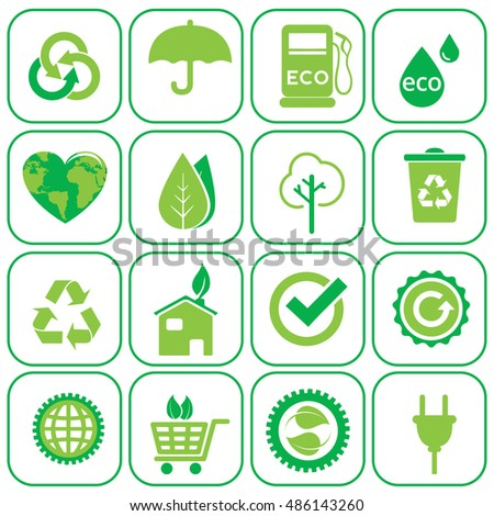 Ecology icons set vector illustration.