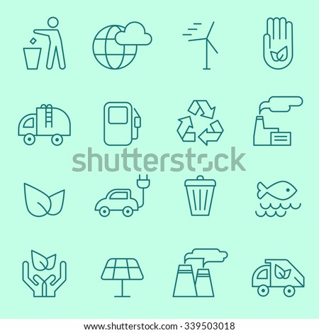 Ecology icons, thin line design - stock vector