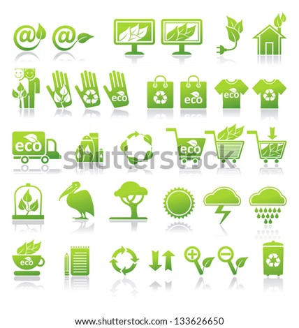 Ecology  icons, vector set.