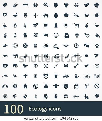 ecology Icons Vector set. ecology Icons Symbol set. ecology Icons Picture set. ecology Icon Image set. ecology Icons Shape set. ecology Icons Sign set 100 ecology icons - stock vector
