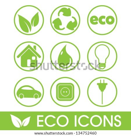 Ecology icons vector set, recycle concept, energy efficiency concept, vector illustration - stock vector