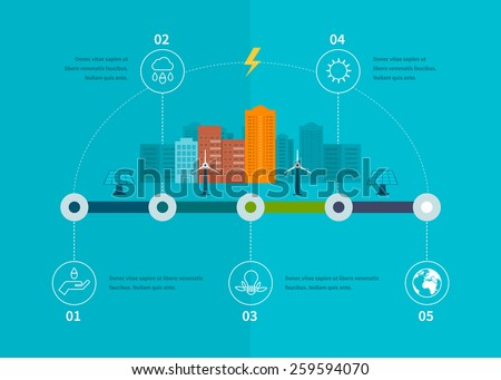Ecology illustration infographic elements flat design. City landscape. Flat design vector concept illustration with icons of ecology, environment, eco friendly energy and green technology.  - stock vector