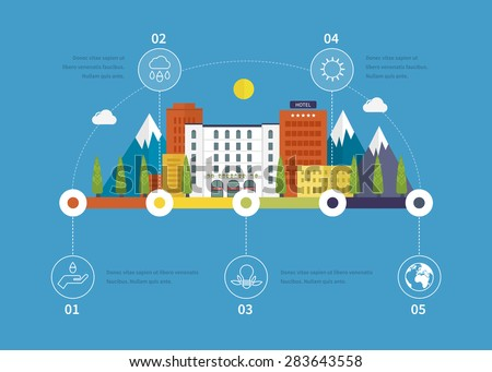 Ecology illustration infographic elements flat design. City landscape. Flat design vector concept illustration with icons of ecology, environment, eco friendly. Buildings icons. - stock vector