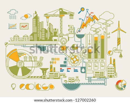 ecology info graphic city - stock vector