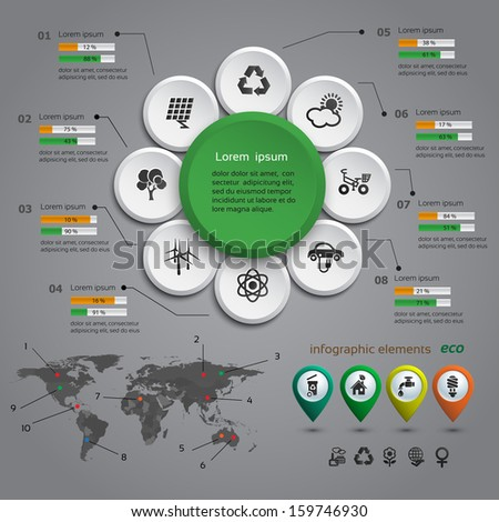 Ecology info graphic with map, web design, vector  - stock vector