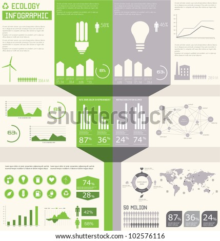 Ecology info graphics collection, charts, symbols, graphic vector elements