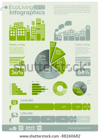 ecology info graphics collection - sustainable concept - charts, symbols, graphic elements - stock vector