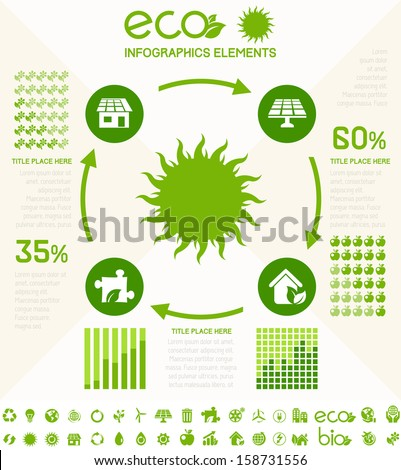 Ecology InfogFlat Infographic Elements. Opportunity to Highlight any Country on the World Map. Vector Illustration EPS 10.