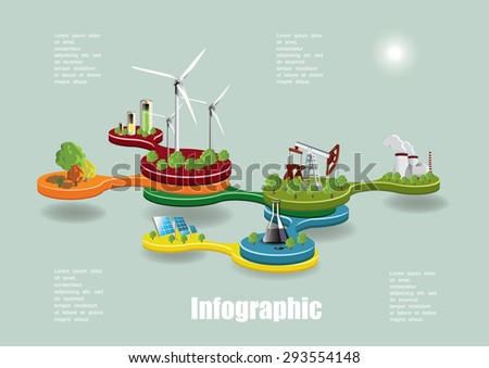 Ecology infographic concept with environment icons, Vector illustration. - stock vector
