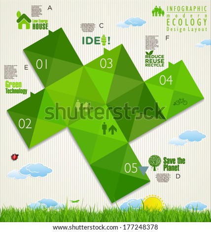 Ecology infographic design template - stock vector