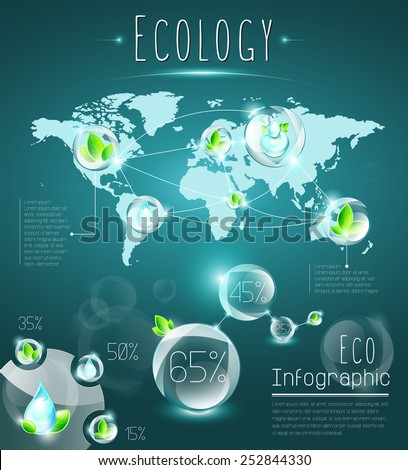 Ecology infographic elements, named and structured layers, transparency, EPS 10