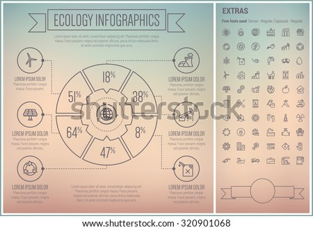 Ecology infographic template and elements. The template includes the following set of icons - faucet, garbage bin, propeller, sunlihgt, soalr, oil factory and more. Modern minimalistic flat thin line - stock vector
