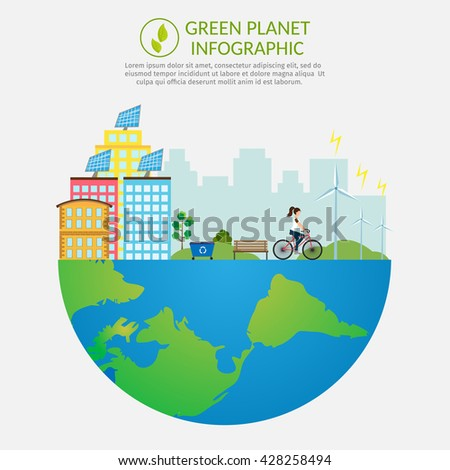Ecology infographic vector elements illustration and environmental risks and pollution. City life Infographic set elements. - stock vector