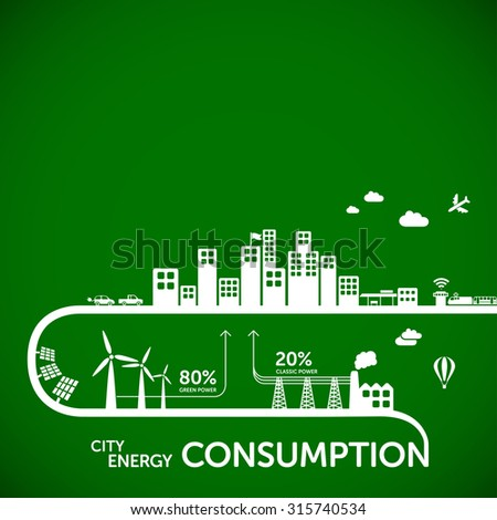 Ecology infographics - city energy consumption - stock vector