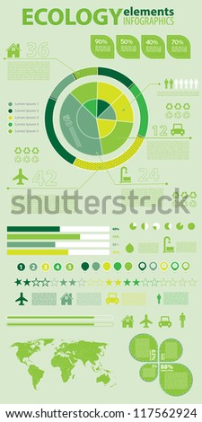 Ecology infographics collection, charts, world map, graphic vector elements - stock vector