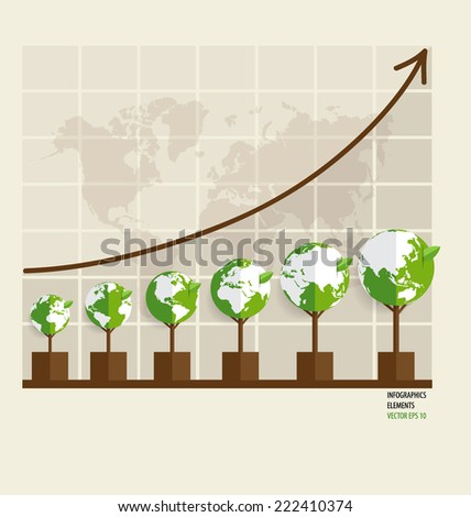 Ecology Infographics design elements. Graph of growing sustainable environment with business. Vector illustration. - stock vector