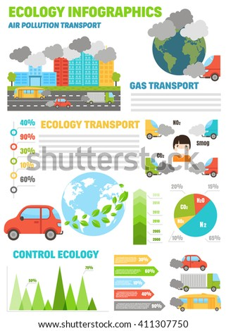 Ecology infographics set with air water and soil pollution charts vector illustration. Smoke air pollution and factory smog air pollution. Power energy ecology air pollution. Global danger atmosphere. - stock vector