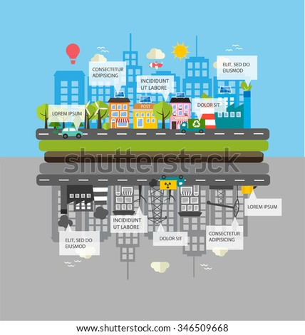Ecology infographics with green city and dirty city, vector