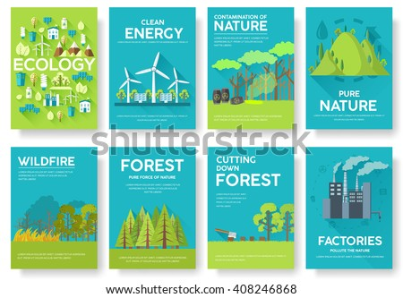 Ecology information cards set. Ecological template of flyear, magazines, posters, book cover, banners. Eco infographic concept  background. Layout illustrations modern pages with typography text - stock vector