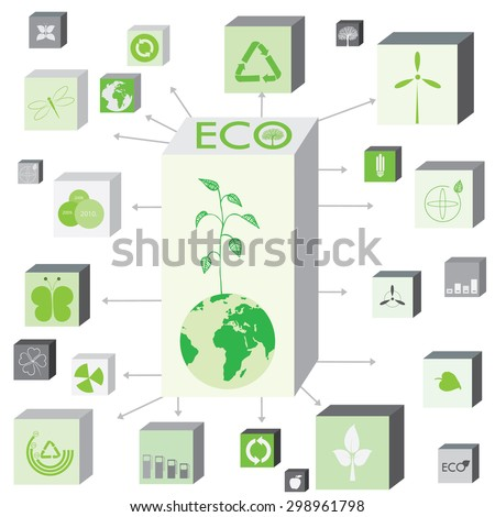 Ecology information graphic chart with world map, signs, symbols and charts - stock vector