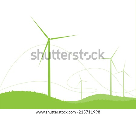 ecology landscape with wind farm. vector illustration