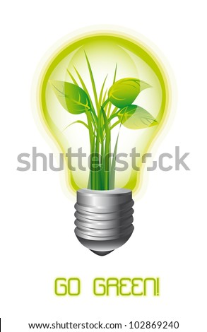 ecology light bulb with leaves, go green. vector illustration - stock vector