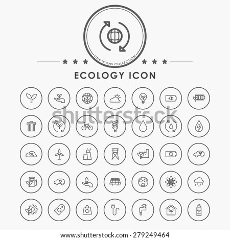ecology line icons with circle button - stock vector