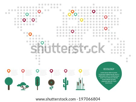 ecology map. floral icons set. graphic element. - stock vector