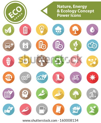 Ecology,Nature & Energy icons,Colorful version,vector - stock vector
