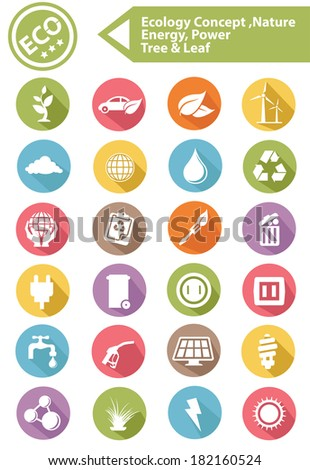 Ecology,Nature,Energy Icons,Colorful version,vector - stock vector