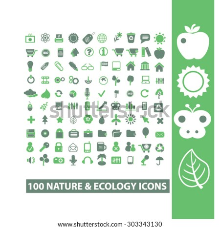 ecology, nature isolated flat icons, signs, illustrations, vector set - stock vector