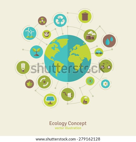 Ecology network connection concept. Vector illustration. Environmental infographics template with circles and flat icons. Environmental protection. Nature and Pollution. Go green. Save the planet. - stock vector