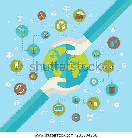 Ecology network connection concept with hands holding Earth. Vector illustration. Environmental infographics template with circles and flat icons. Environmental protection. Go green. Save the planet. - stock vector