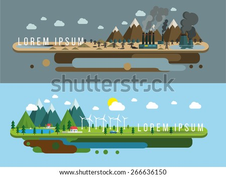 Ecology of city technology and environment conception, illustration flat design - stock vector