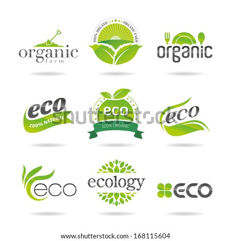Ecology, organic icon set. Eco-icons - stock vector
