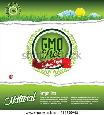 Ecology, organic, nature, GMO free green banner - stock vector