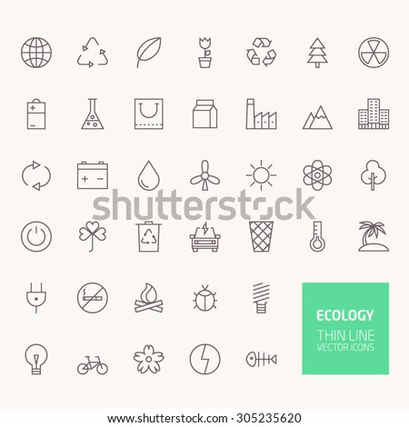 Ecology Outline Icons for web and mobile apps - stock vector