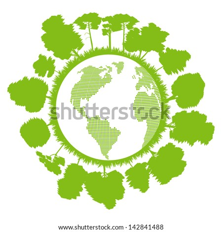 Ecology planet with forest around it vector background concept