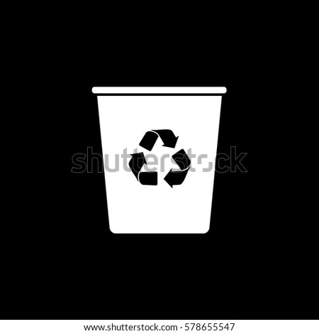 Ecology Plastic Cup With Recycle Sign Flat Icon On Black Background