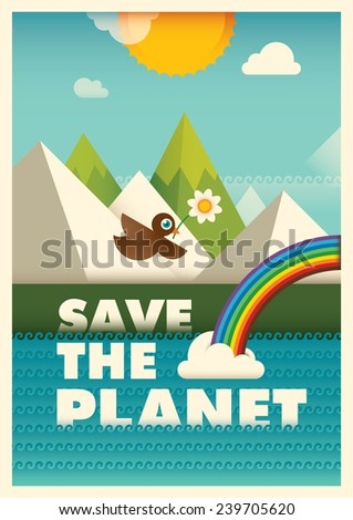 Ecology poster design. Vector illustration. - stock vector