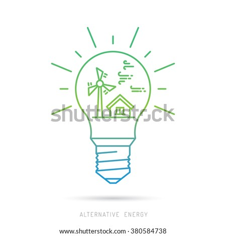 Ecology power concept. New energy type. Alternative energy. Alternative wind energy station. New eco energy vector illustration. Ecology concept. Eco energy concept outline. Global wind day 15 jun - stock vector