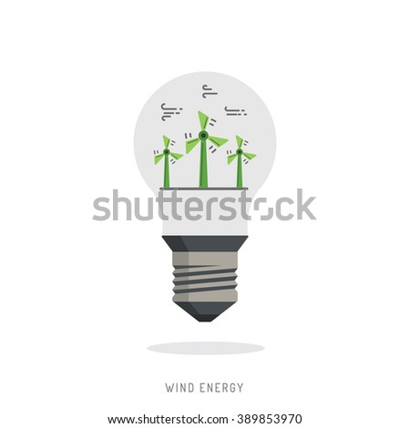 Ecology power concept. New energy type. Alternative energy. Alternative wind energy station. New eco energy vector illustration. Ecology concept. Global wind day 15 jun. Alternative energy type. - stock vector