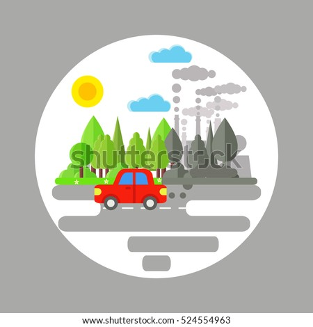Ecology problem concept. Car and factories pollute the environment. Car and plant emitting smoke which destroy environment. Flat vector illustration of air pollution. Pollution clouds.