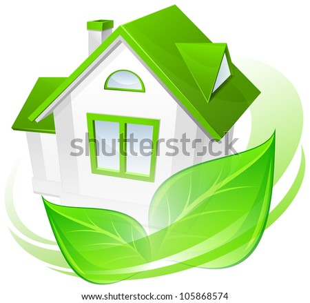 Ecology protection, model of house with green circle, environment concept, vector illustration - stock vector
