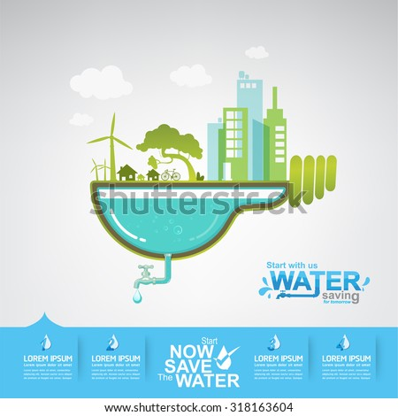 Ecology Save The Water Vector Concept Water is Life